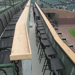 6:08 p.m. The two lower rows of the new right-field patio -