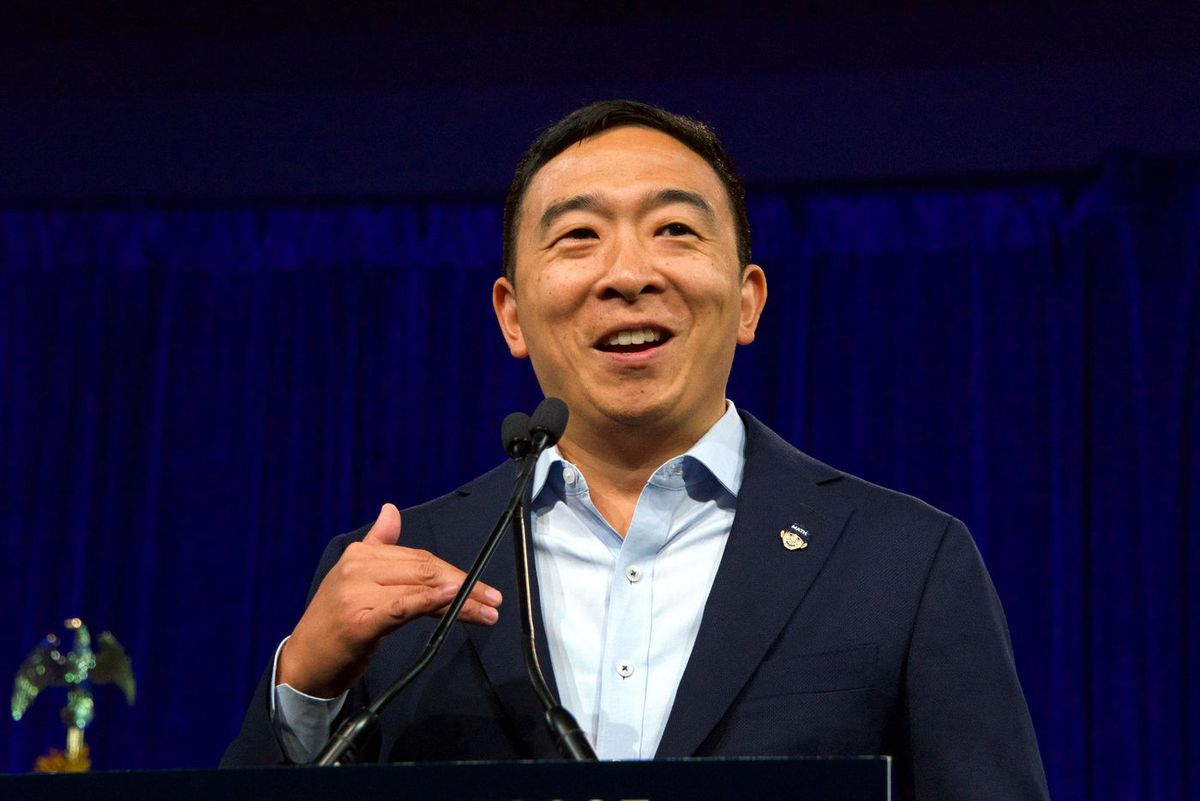 Andrew Yang campaigns in 2019 for president.