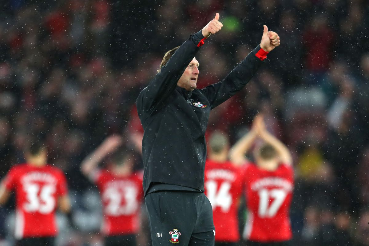 Southampton's Ralph Hasenhuttl celebrating after his team beat Arsenal in the Premier League