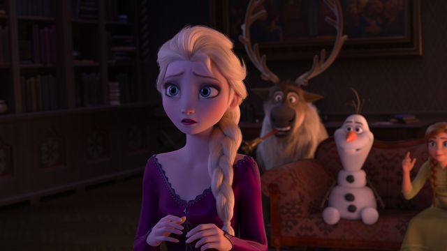 Elsa looks concerned and faces away. behind her, Sven the reindeer, Olaf the snowman, Princess Anna, and Kristoff are smiling