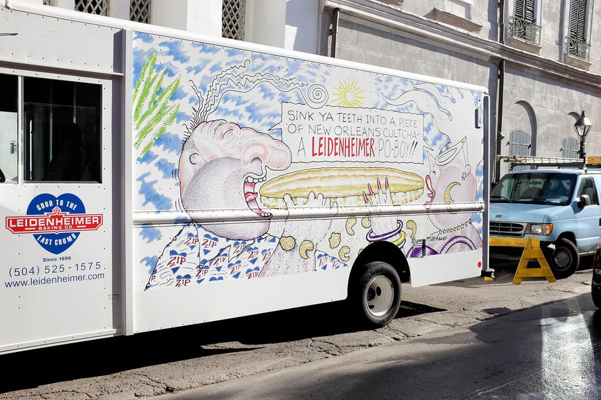A white Leidenheimer Baking Company truck features a Vic and Nat'ly cartoon on its side.