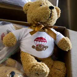 Teddy bears were donated by Canopies for Kids for the patients at Shriners Hospitals for Children in Salt Lake City on Thursday, Sept. 14, 2017.