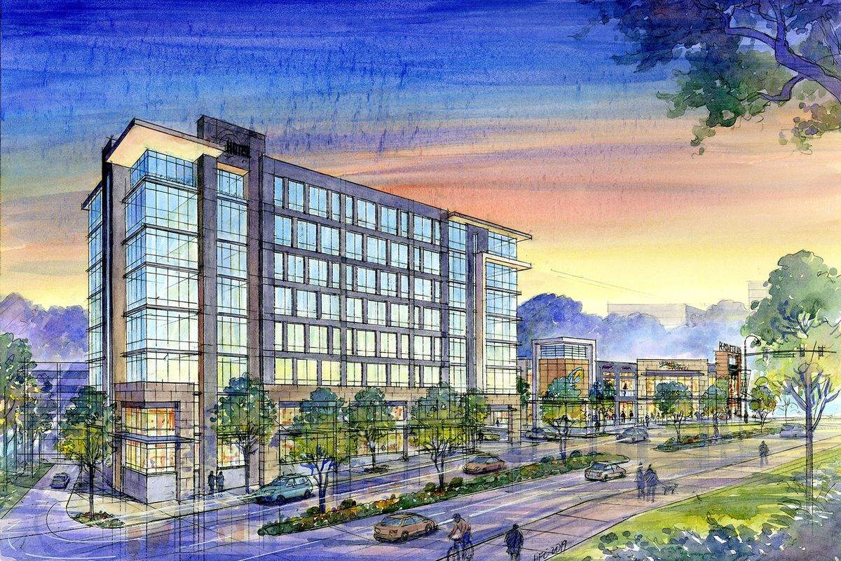 Rendering of multi-story hotel with trees along the sidewalk.