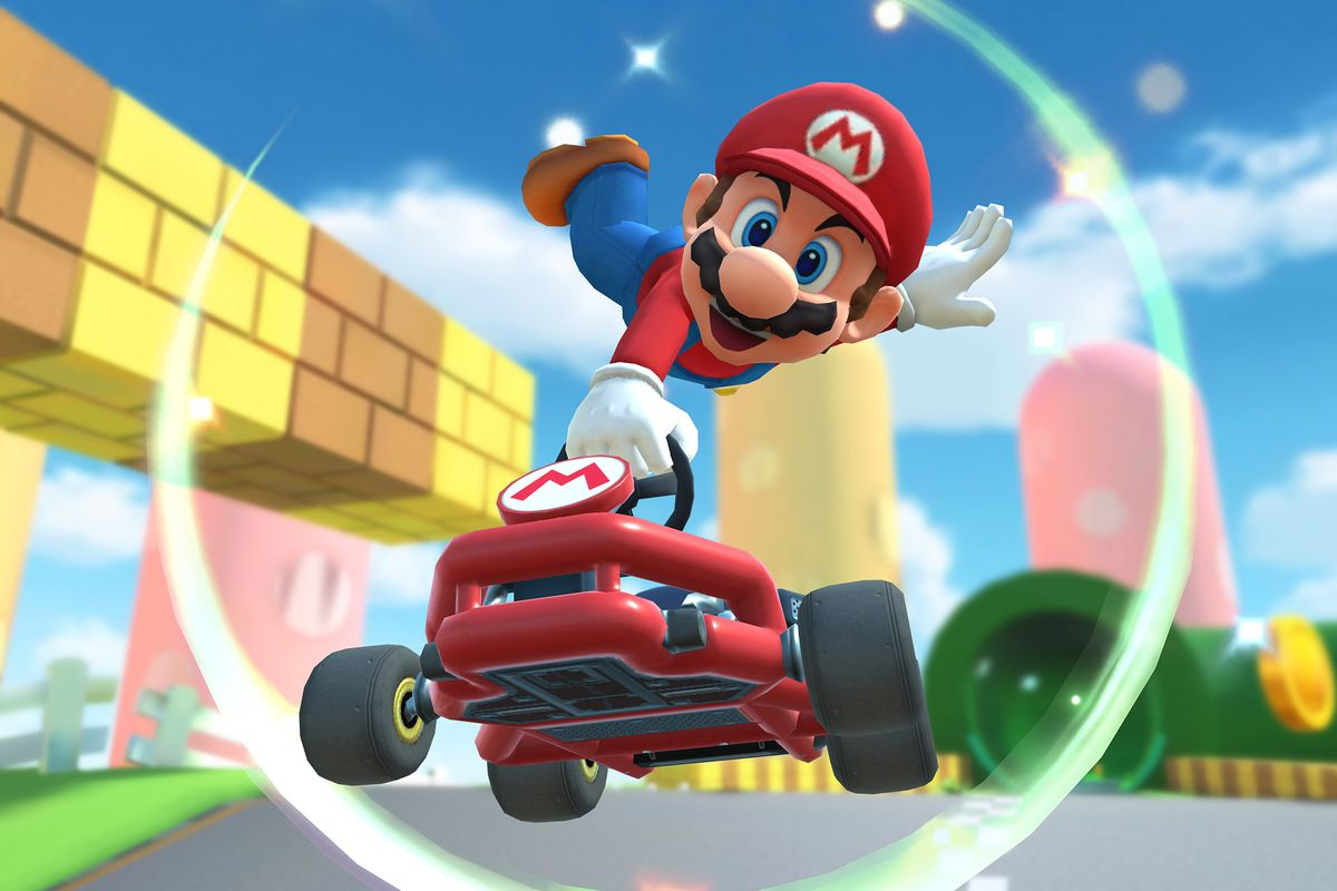 Mario performing a jump boost with one of his carts. Photo courtesy of The Verge.