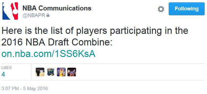 2016 NBA Draft Combine NBA PR Announcement
