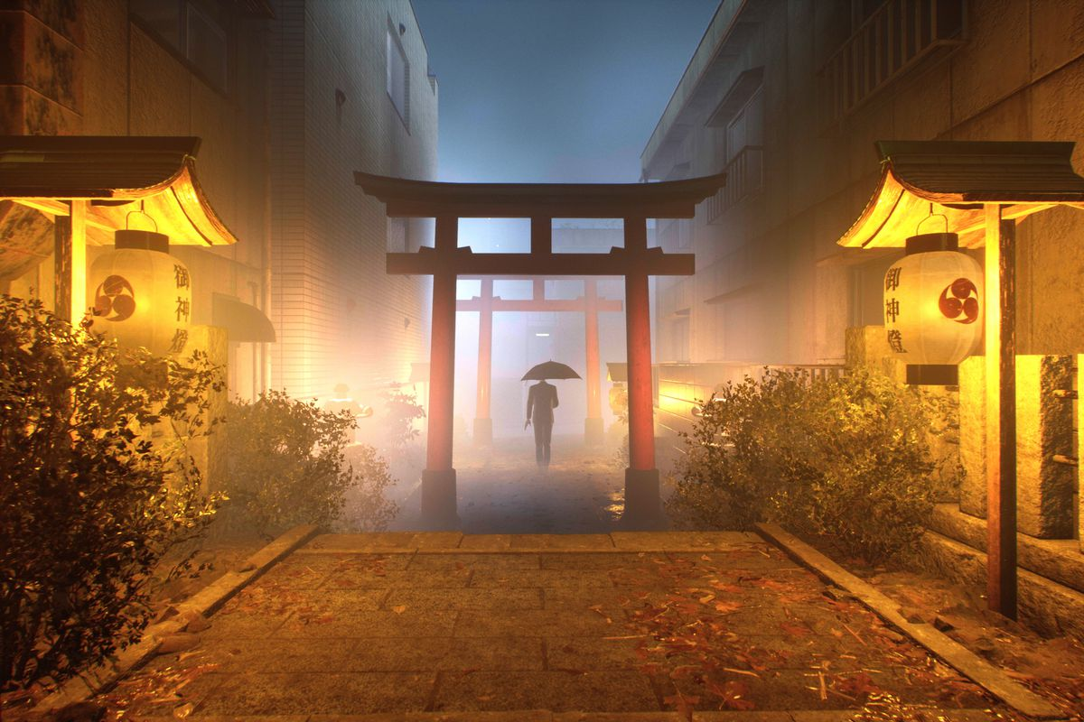 A person using an umbrella passes through a fog-enshrouded shrine in a screenshot from Ghostwire: Tokyo
