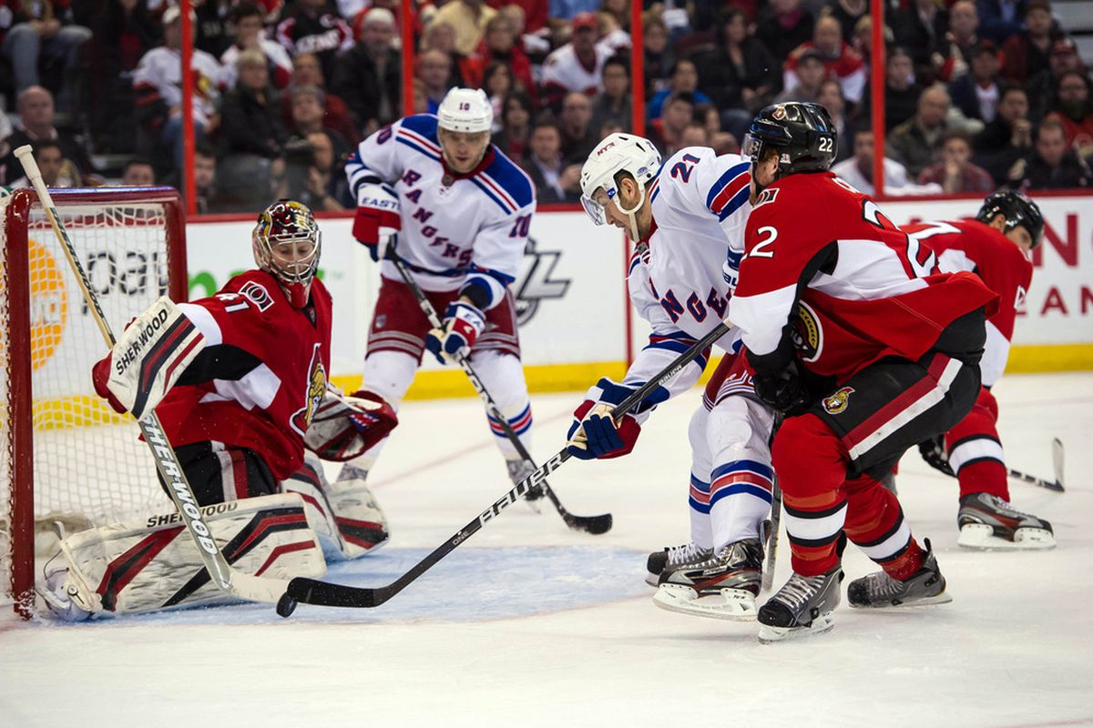 Apr 23, 2012; Ottawa, ON, CAN; Ottawa Senators goalie Craig Anderson (41) makes a save on a shot from New York Rangers centre Derek Stephan (21) in the second period at Scotiabank Place. Mandatory Credit: Marc DesRosiers-US PRESSWIRE