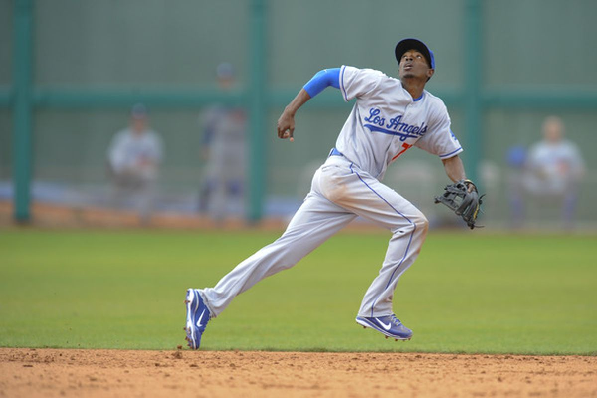 Dee Gordon of the Los Angeles Dodgers during a spring training game against the San Francisco Giants at Scottsdale Stadium on February 26, 2011 in Scottsdale, Arizona. (Photo by Rob Tringali/Getty Images)