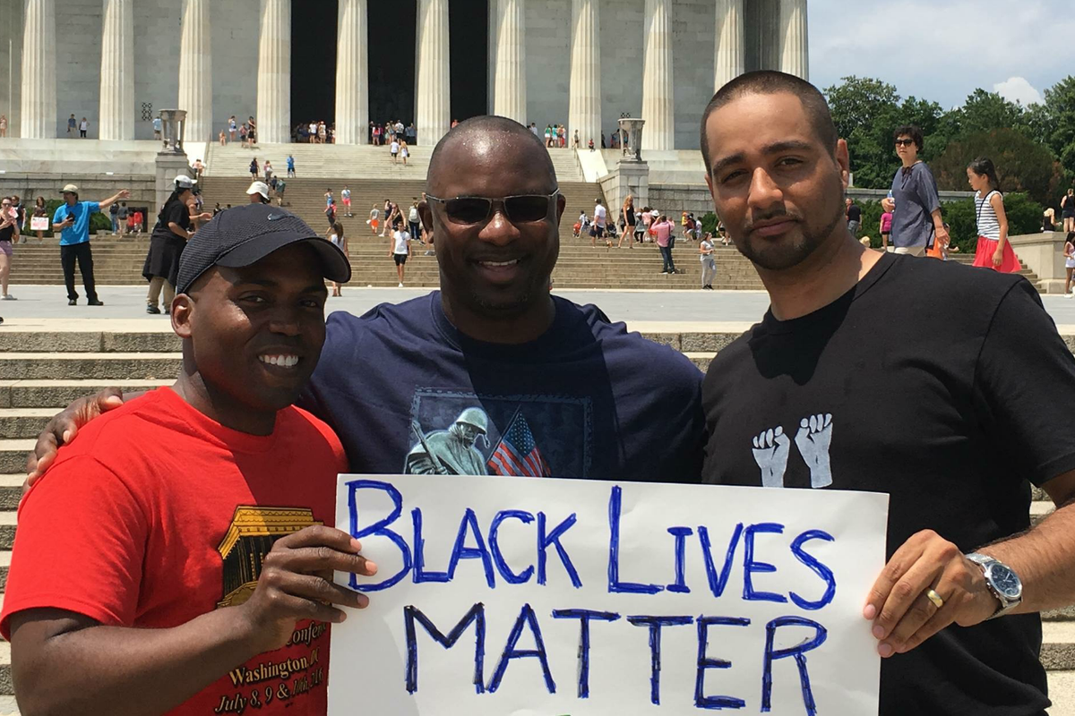 Jamaal Bowman (center) with national leaders in Washington, D.C.