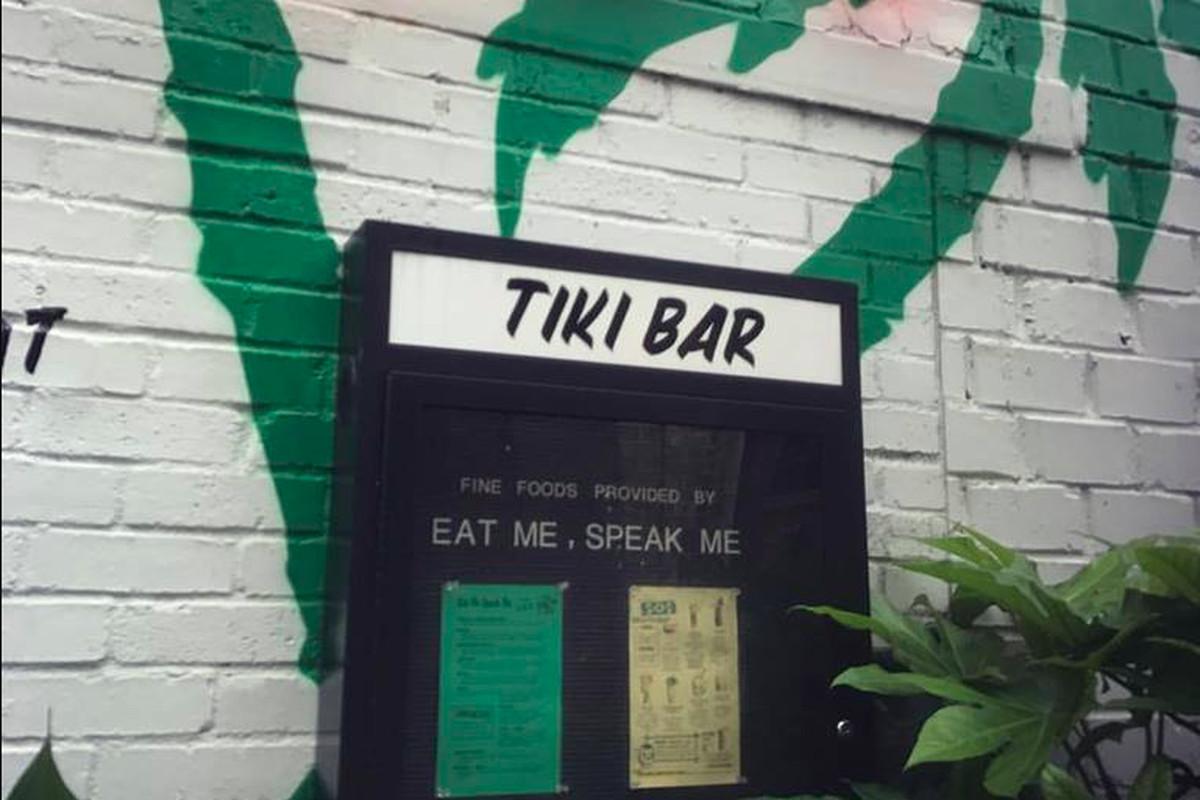 Eat Me Speak Me menus at The SOS Tiki Bar.