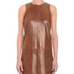 """<a href=""""http://www.barneyswarehouse.com/on/demandware.store/Sites-BNYWS-Site/default/Product-Show?pid=501426725&cgid=womens&index=93""""><b>Vince</b> Metallic Dress</a>, $399 (was $995)"""