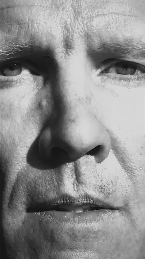 """A man's face in extreme close-up, in black and white, in Damien Chazelle's """"Vertical Cinema"""""""