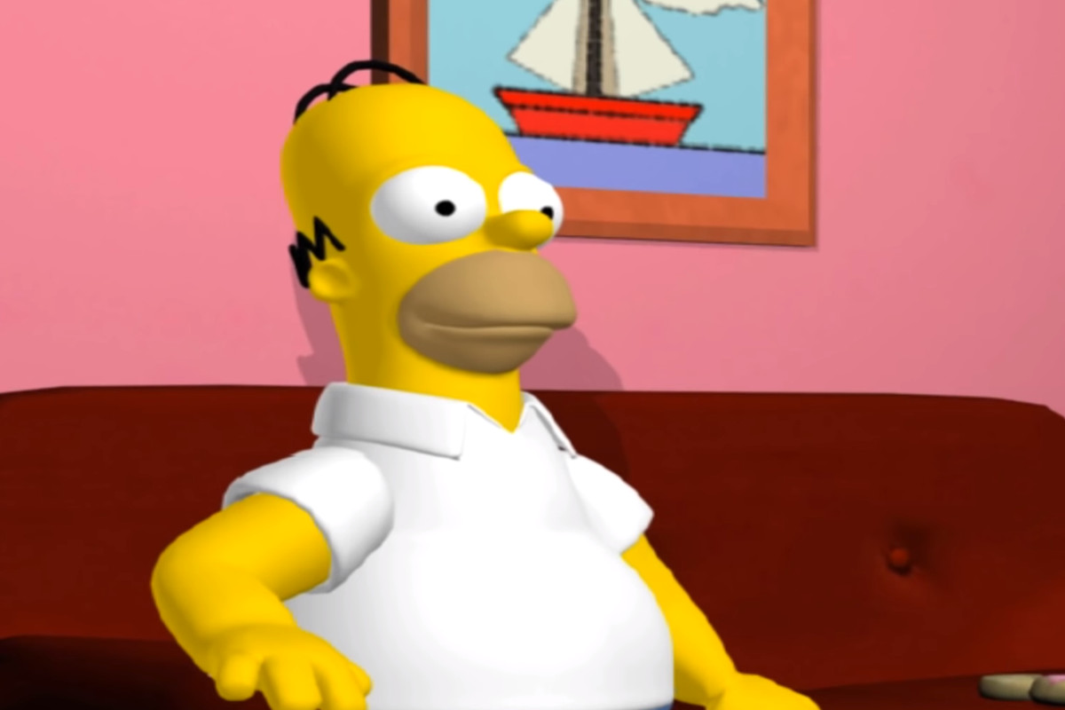 Homer Simpson sitting on a red couch