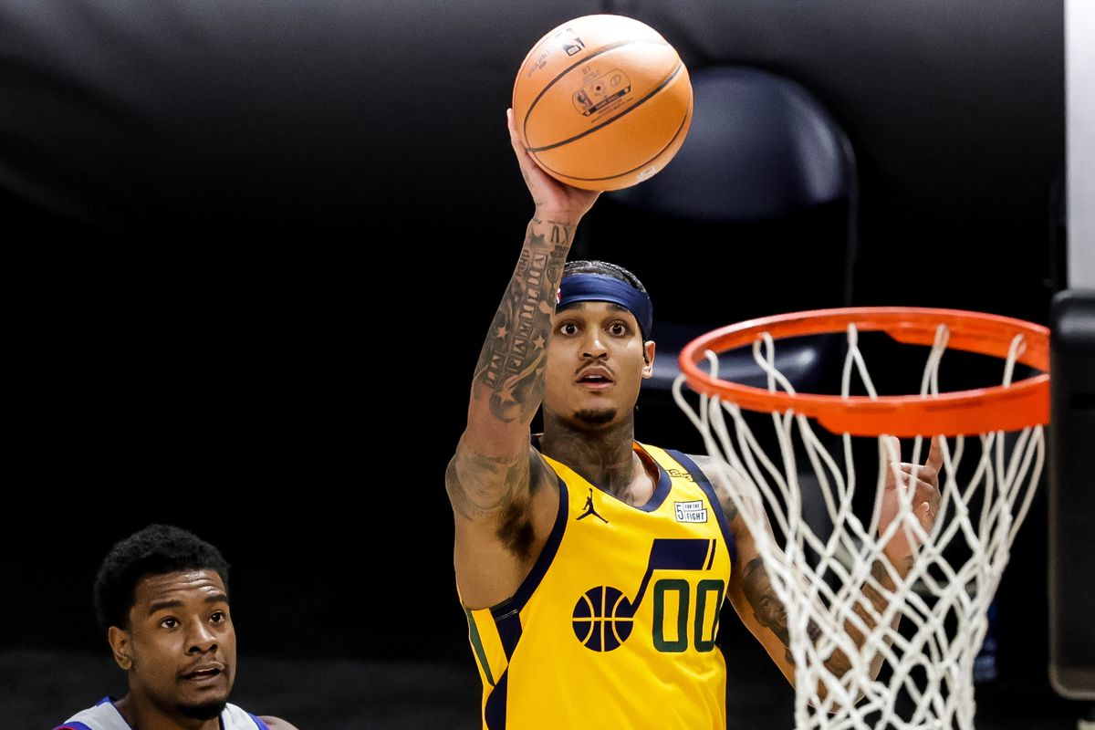 Utah Jazz guard Jordan Clarkson (00) shoots during the game against the Detroit Pistons at Vivint Smart Home Arena in Salt Lake City on Tuesday, Feb. 2, 2021.