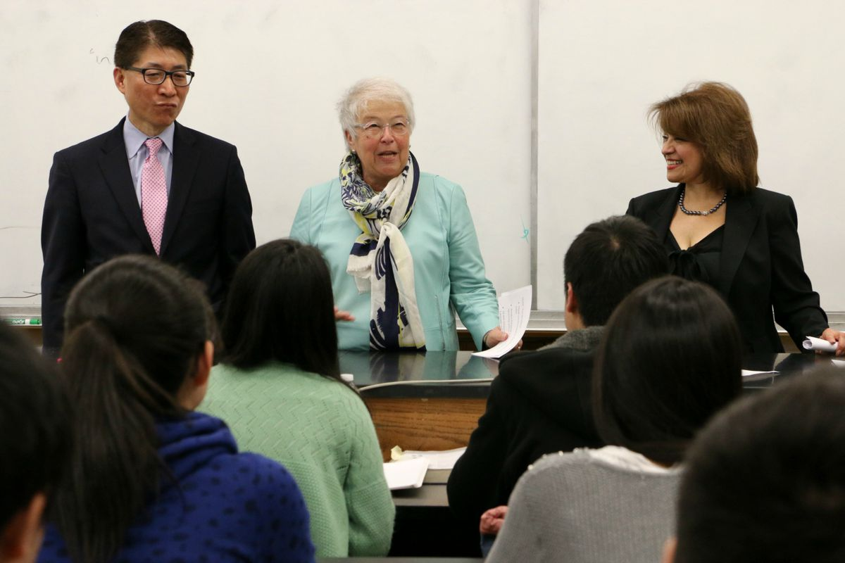 Chancellor Carmen Fariña with High School for Dual Language and Asian Studies Principal Li Yan and Deputy Chancellor for the Division of English Language Learners and Student Support Milady Baez.