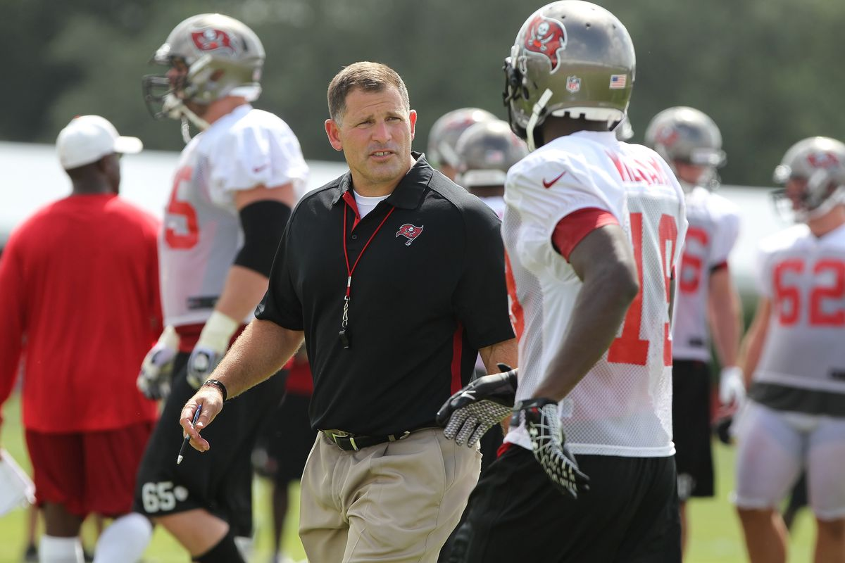 July 27, 2012; Tampa, FL, USA;  Tampa Bay Buccaneers head coach Greg Schiano talks with wide receiver Mike Williams (19) during training camp at One Buc Place. Mandatory Credit: Kim Klement-US PRESSWIRE