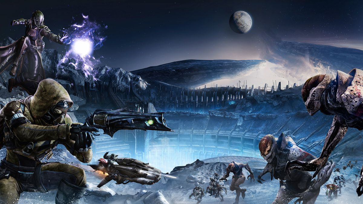 Destiny - Guardians fighting Hive on the Moon