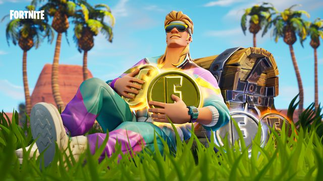 Fortnite - guy lying in field with coins and treasure chest
