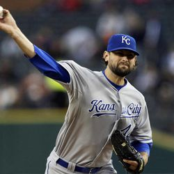Kansas City Royals starting pitcher Luke Hochevar throws against the Detroit Tigers in the first inning of a baseball game in Detroit, Monday, Sept. 24, 2012.