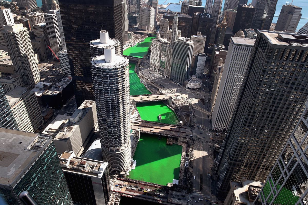 Aerial view of the Chicago River as it winds its way through downtown after being dyed green in celebration of St. Patrick's day on March 16, 2019.