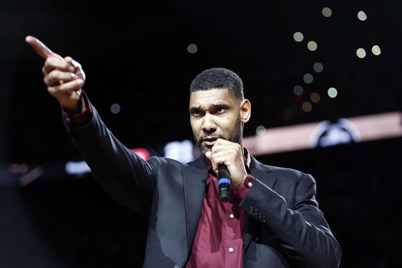 Dec 18, 2016; San Antonio, TX, USA; Former San Antonio Spurs power forward Tim Duncan speaks during a ceremony to retire his No. 21jersey after an NBA basketball game between the Spurs and the New Orleans Pelicans at AT&T Center. Mandatory Credit: Soobum Im-USA TODAY Sports