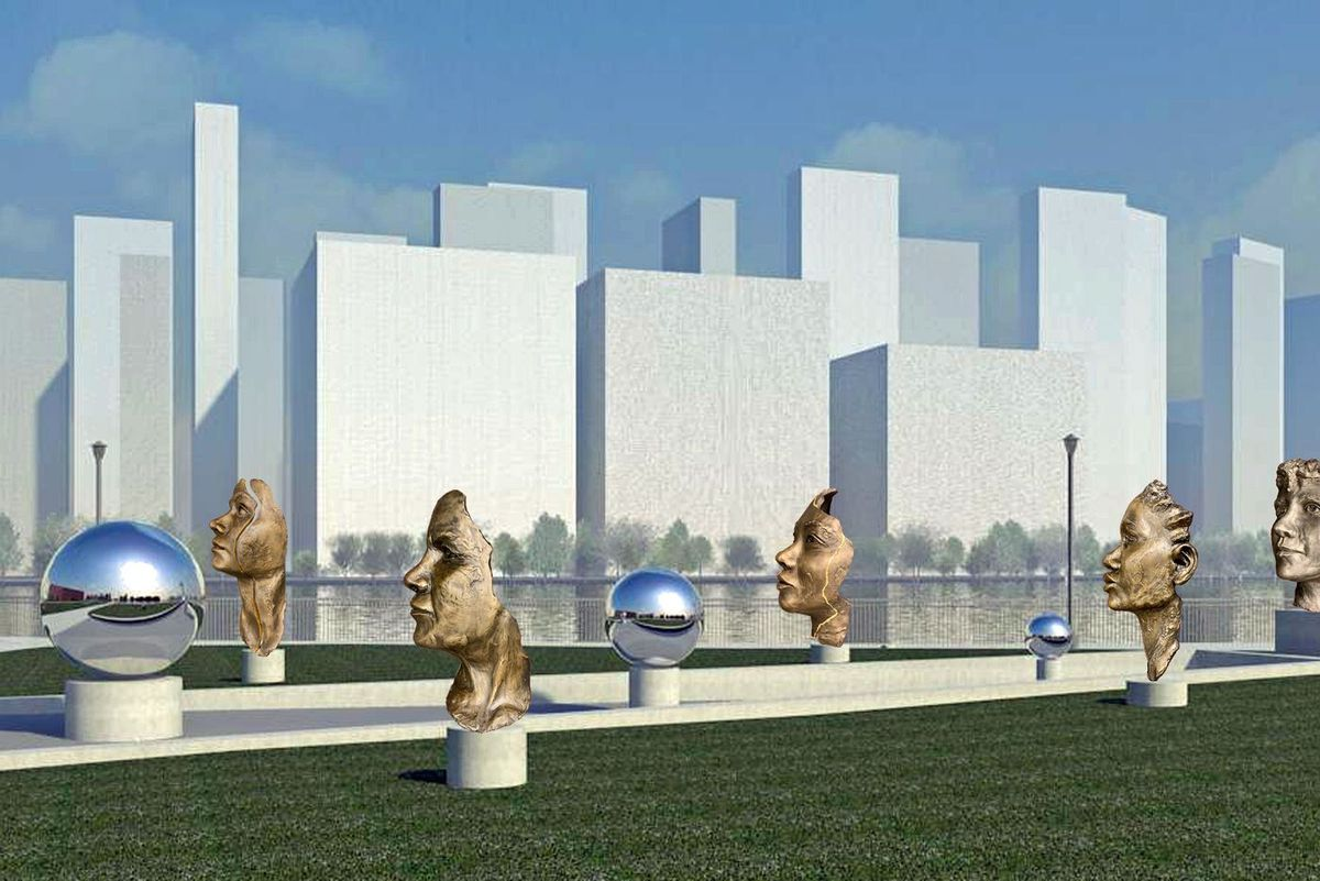 """Artist Amanda Matthews' Nellie Bly memorial, set to open later this year on Roosevelt Island, is called """"The Girl Puzzle"""" in honor of a famous letter written by the journalist."""