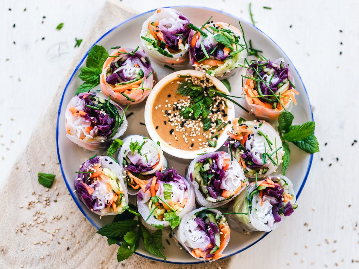 Rice Paper Sushi Rolls on a bowl