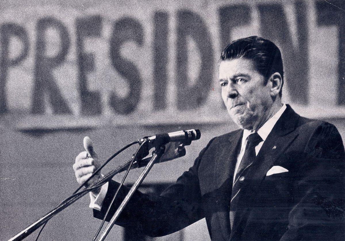 Then presidential candidate Ronald Reagan campaigns aat Elk Grove High School in Elk Grove Village in 1976.