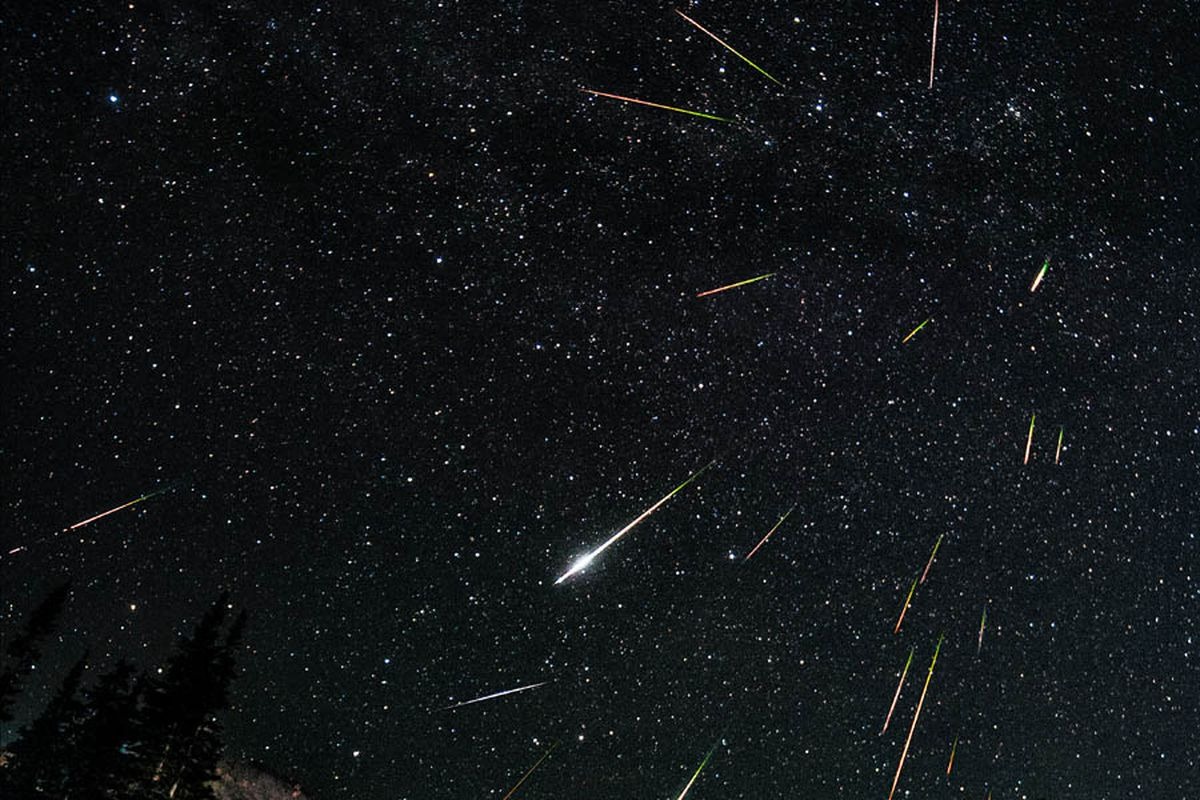 A long exposure photo of the 2012 Perseid shower, as seen in Wyoming.
