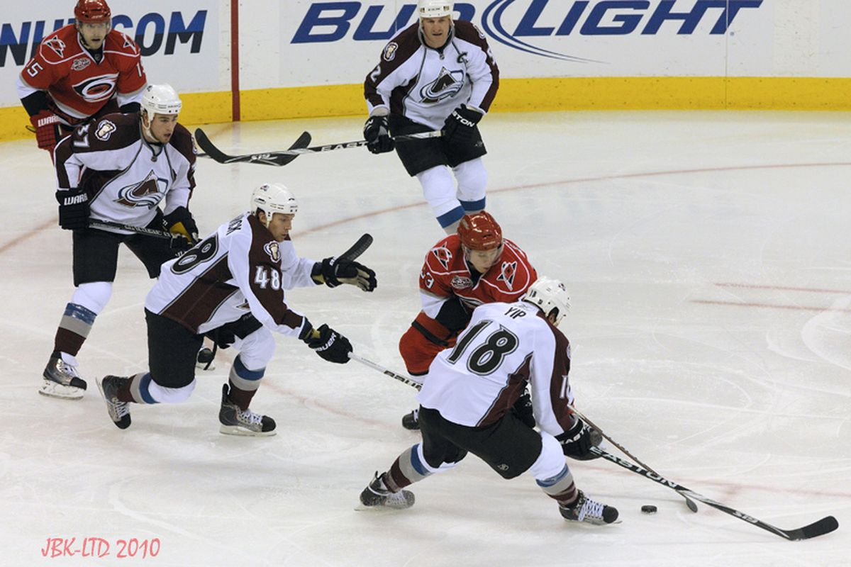 """Rookie Jeff Skinner dangles through the Colorado defense shortly before scoring his highlight-reel goal Friday at the RBC Center. Photo by <a href=""""http://www.flickr.com/photos/jbk-ltd/"""">LTD</a>"""