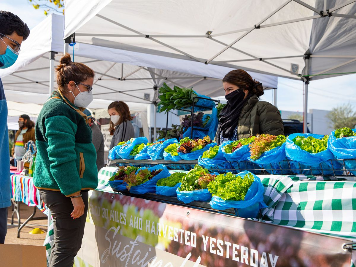 people shopping for produce at a farmer's market booth