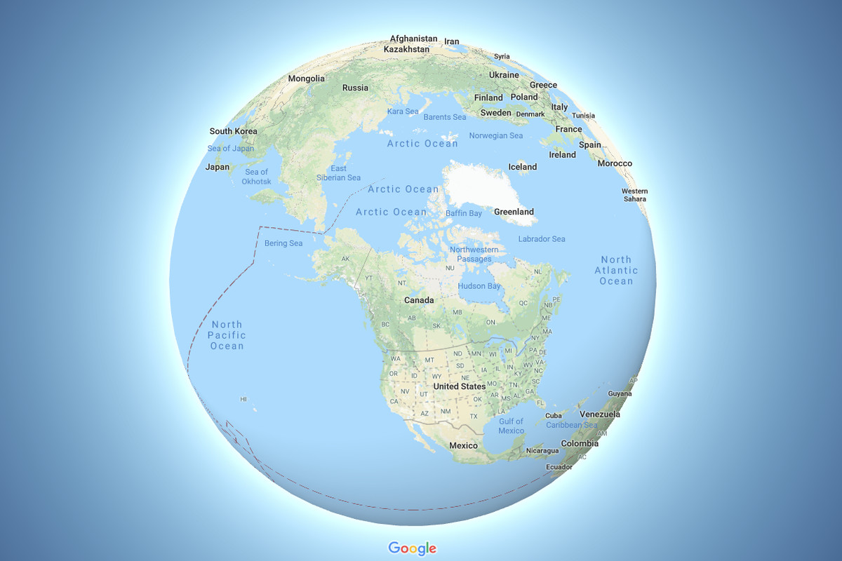 Google Maps now depicts the Earth as a globe - The Verge on peters projection map vs mercator, accurate scale map of globe, flat map and globe, peters projection map with scale, peters map of the world, peters projection of the world,