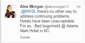 Alex Morgan bedbugs tweet