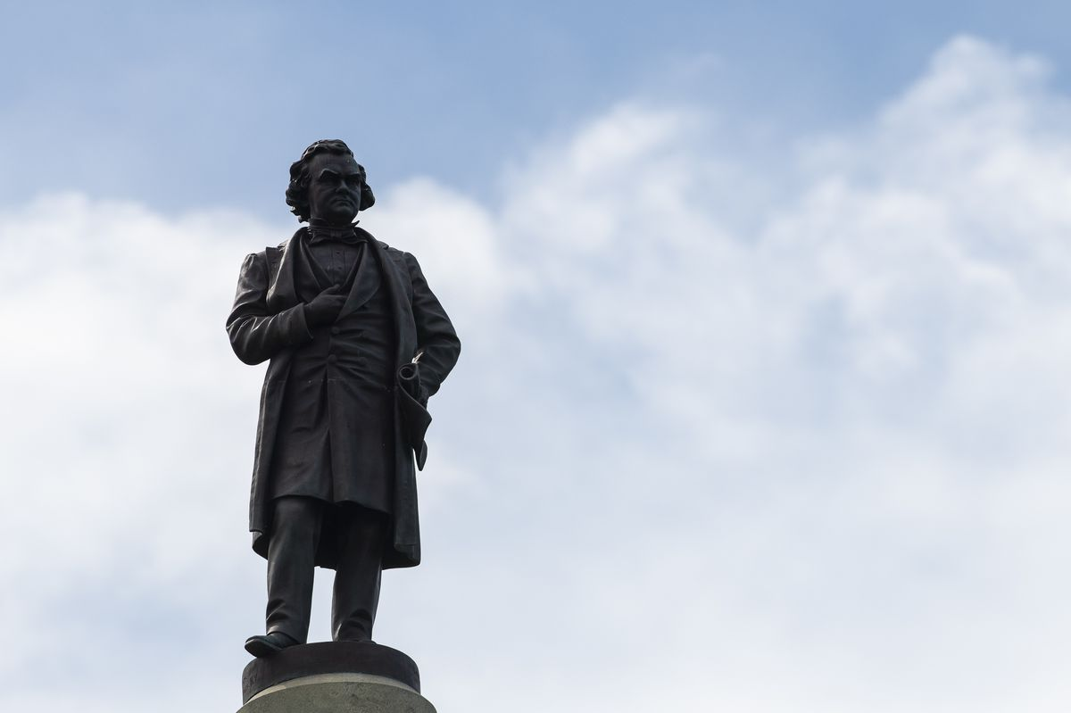 Statue of Stephen Douglas atop his tomb, an Illinois state historic site located at 636 E. 35th St. in the Bronzeville neighborhood on Tuesday.