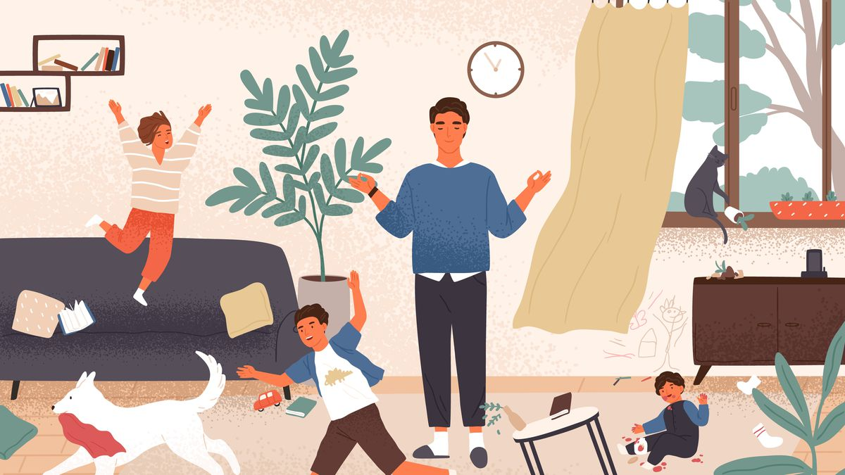 An illustration of a father in a chaotic setting.