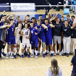BYU players coaches and staff pose for a photo after defeating Pepperdine in the finals of the Mountain Pacific Sports Federation Championship, at the Smith Field House in Provo on Saturday, April 24, 2021. BYU won in straight sets.