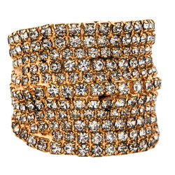 """Gold-tone crystal ring, $75 via <a href=""""https://www.therealreal.com/"""">The Real Real</a>"""