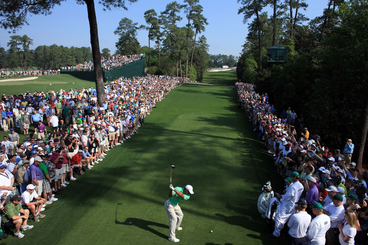 AUGUSTA, GA - APRIL 04:  Tiger Woods tees off during a practice round prior to the start of the 2012 Masters Tournament at Augusta National Golf Club on April 4, 2012 in Augusta, Georgia.  (Photo by David Cannon/Getty Images)