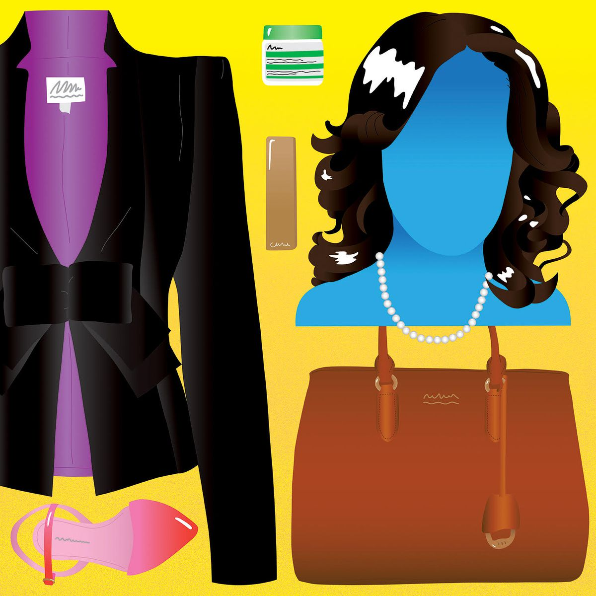 A drawing of a woman's blazer, heels, purse, pearl necklace, and beauty products illustrate the things Black people buy in order to maintain an extra-polished appearance in the workplace.