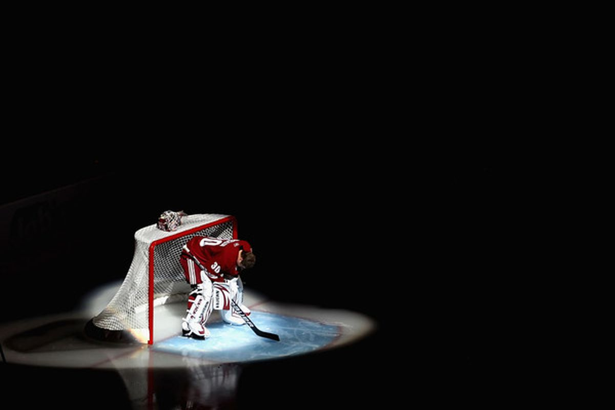 GLENDALE AZ - OCTOBER 16:  Goaltender Ilya Bryzgalov #30 of the Phoenix Coyotes is introduced before the NHL game against the Detroit Red Wings at Jobing.com Arena on October16 2010 in Glendale Arizona.  (Photo by Christian Petersen/Getty Images)
