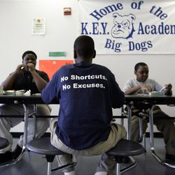 Students at the KIPP DC KEY Academy sit and talk together while eating lunch in the school cafeteria in Washington, D.C.