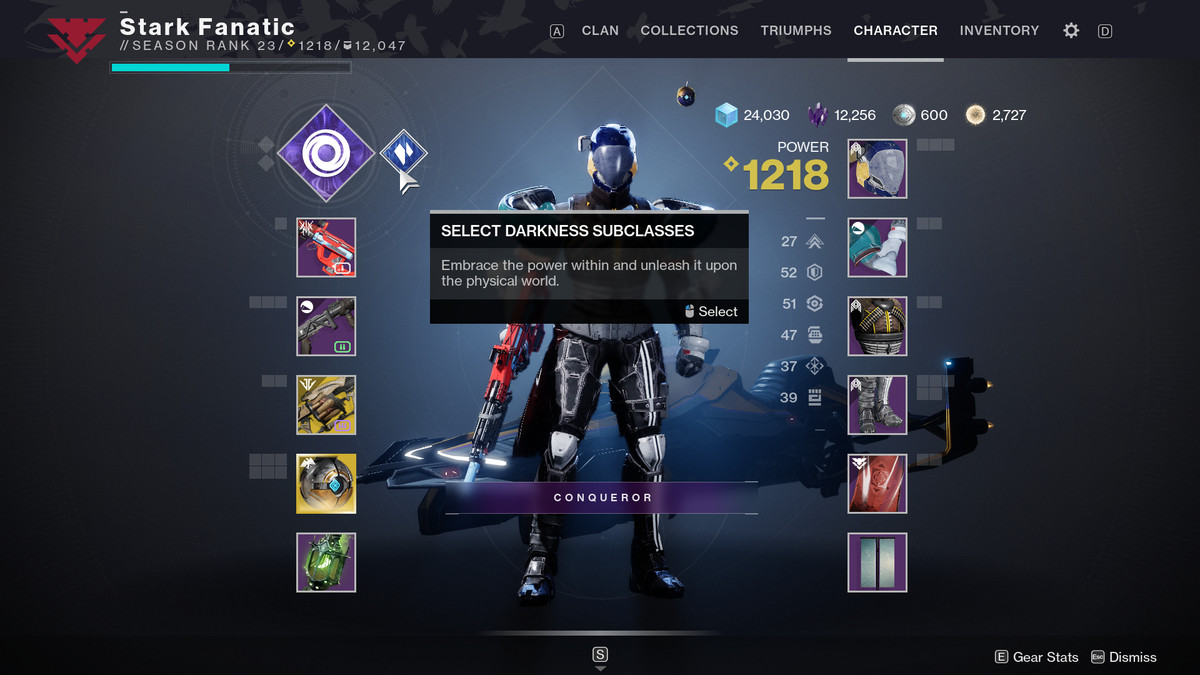 Destiny 2: Darkness Subclasses menu