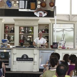 """Christina Tosi of Momofuku Milk Bar demonstrating how to make cornflake crunch at """"Cereal: It's Not Just for Breakfast Anymore"""""""
