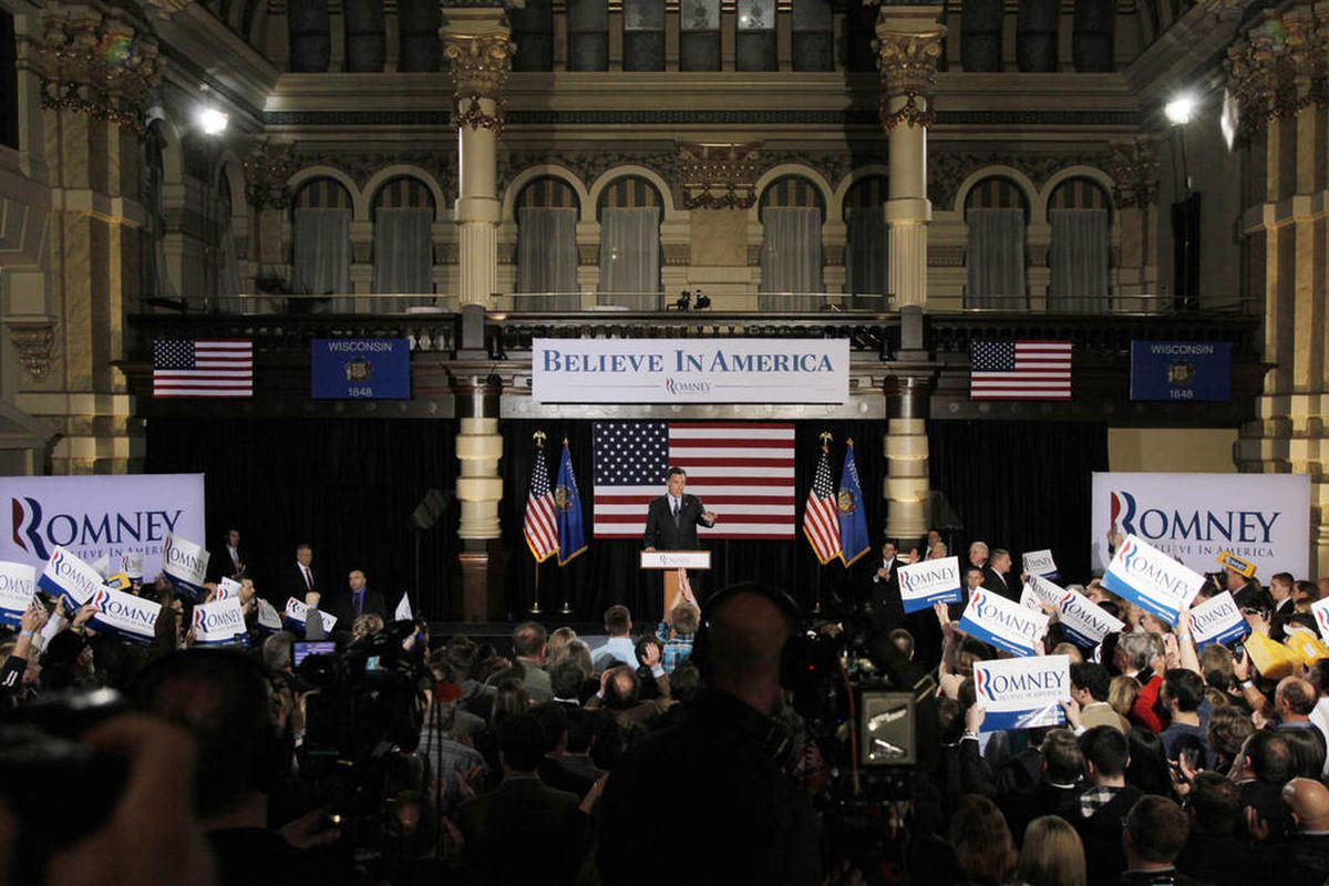 Republican presidential candidate, former Massachusetts Gov. Mitt Romney declares victory in the Wisconsin presidential primary, Tuesday, April 3, 2012, at the Grain Exchange in Milwaukee.