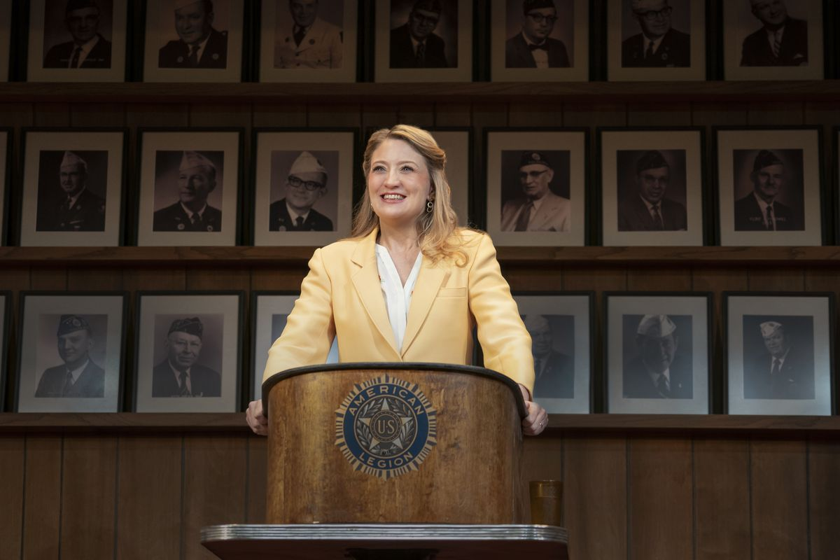 """Heidi Schreck is shown in a scene from """"What the Constitution Means to Me,"""" which draws on Schreck's experiences as a high-school debate champ and the lives of her female relatives to explore America's principles and the struggle women and minorities have faced to be heard and protected by its founding document."""