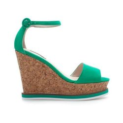 """Cork Wedge with Ankle Strap in Green, $89.90 at <a href=""""http://www.zara.com/us/en/woman/shoes/cork-wedge-with-ankle-strap-c358009p1283021.html"""">Zara</a>"""