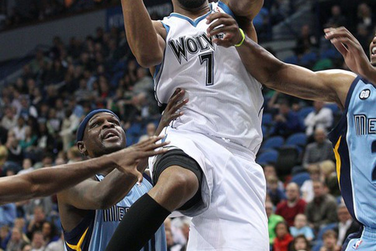 Apr 17, 2012; Minneapolis, MN, USA: Minnesota Timberwolves forward Derrick Williams (7) goes up for a layup in the first half at Target Center. Mandatory Credit: Jesse Johnson-US PRESSWIRE