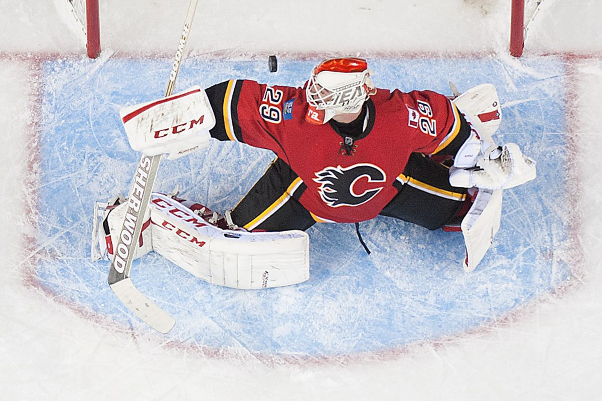 Reto Berra was one of the players demoted to the Abbotsford Heat in the Flames' final cuts yesterday.