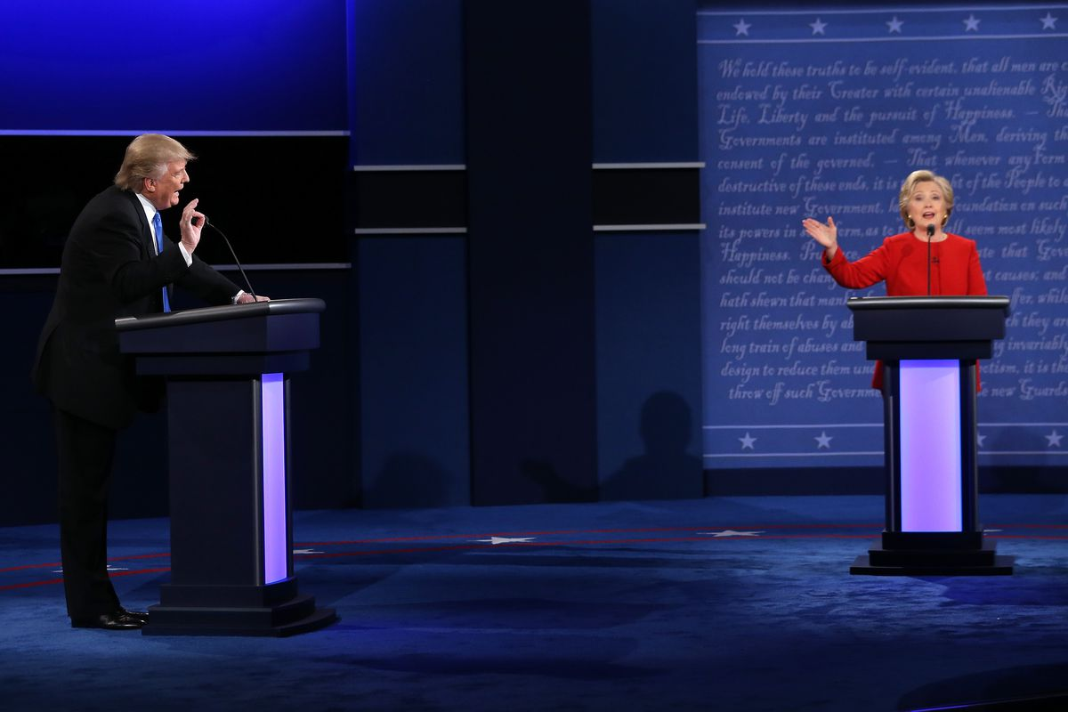 Hillary Clinton and Donald Trump on the debate stage.