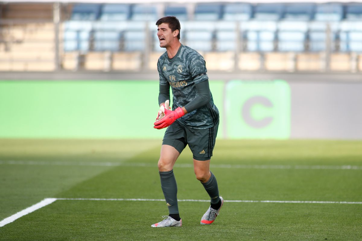 Thibaut Courtois of Real Madrid gestures during the spanish league, LaLiga, football match played between Real Madrid and SD Eibar at Alfredo Di Stefano Stadium in the restart of the Primera Division tournament after to the coronavirus COVID19 pandemic, on June 14, 2020 in Valdebebas, Madrid, Spain.